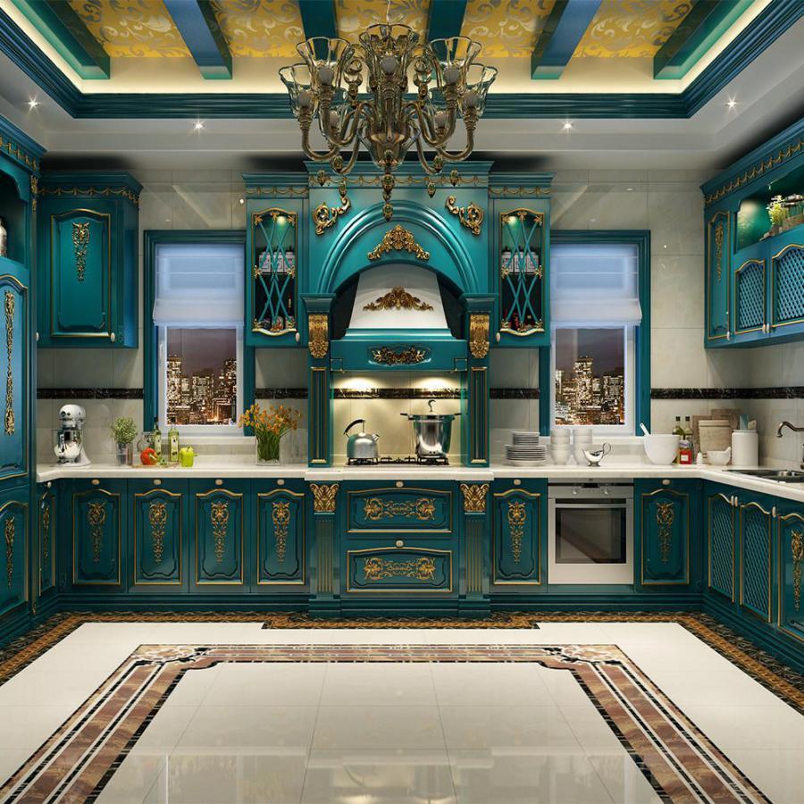法式蓝色描金厨房橱柜模型