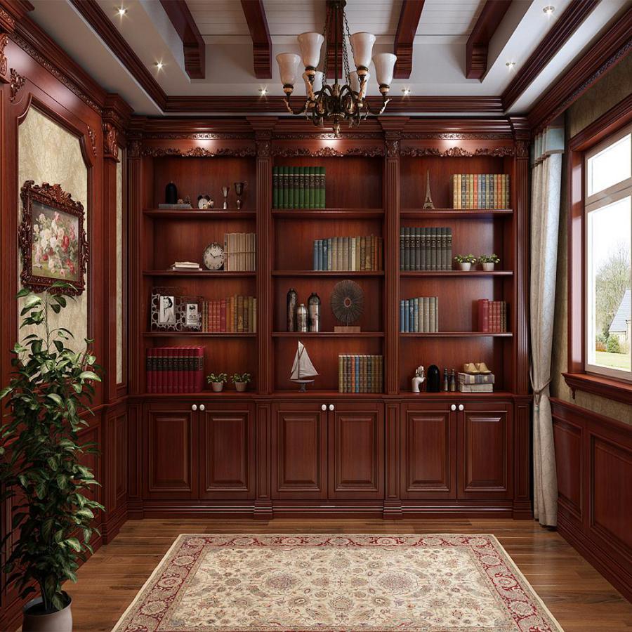 欧式法式深色书房书柜模型