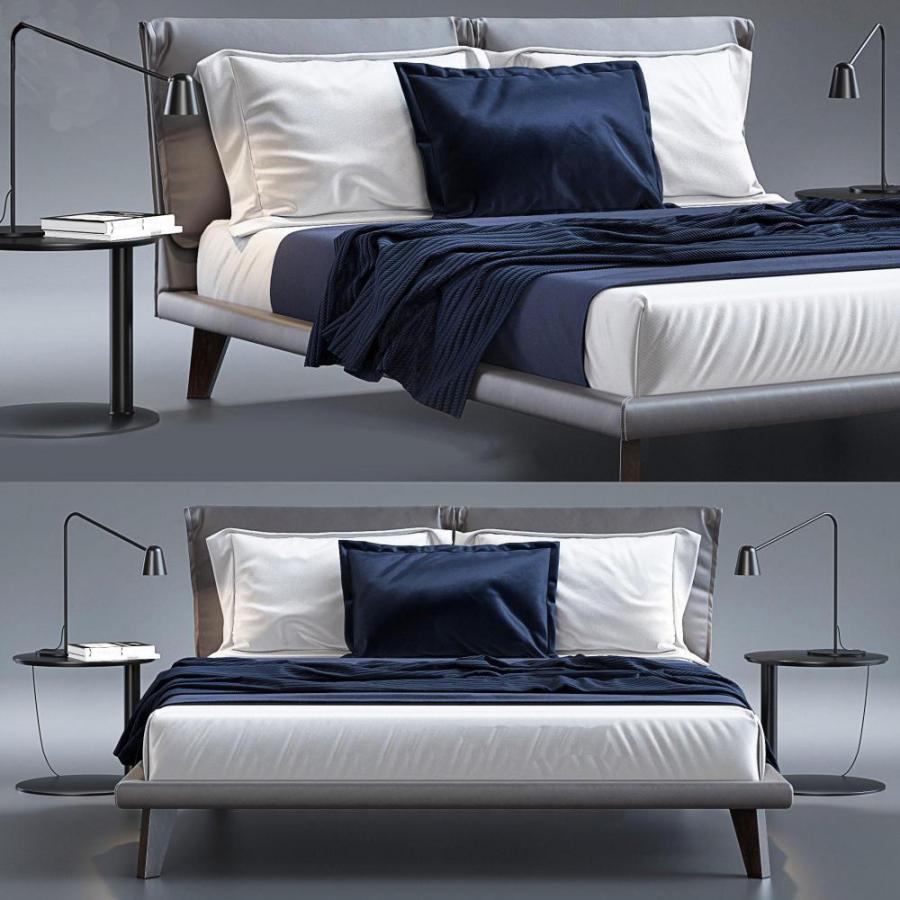 现代双人床床头柜台灯组合模型