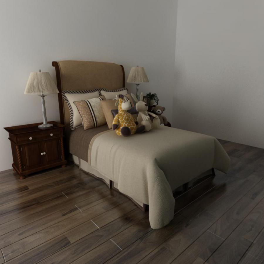 现代简约单人床3D模型
