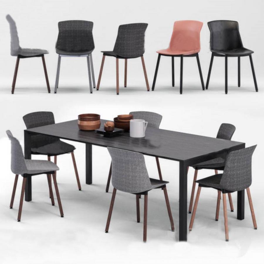 现代北欧餐厅桌椅组合模型