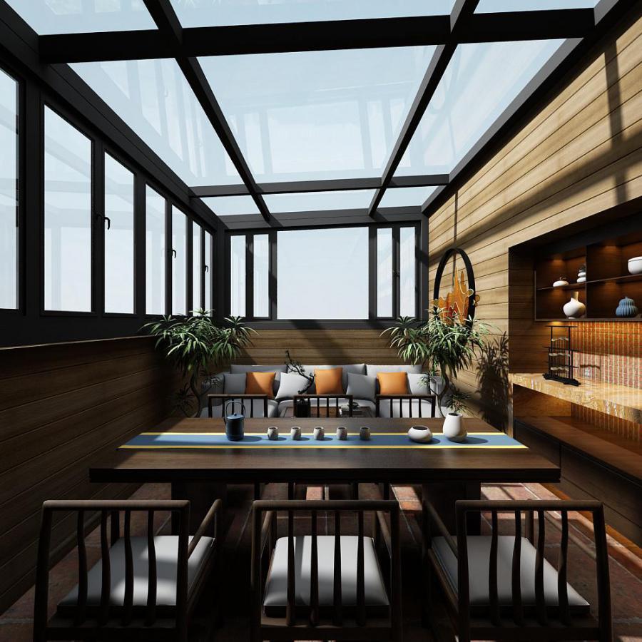 新中式休闲娱乐的茶室模型