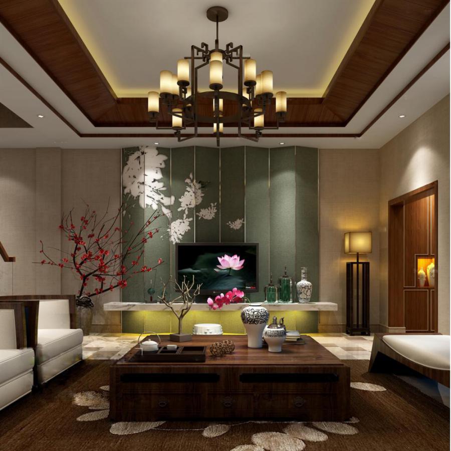 中式整体家装客厅空间模型