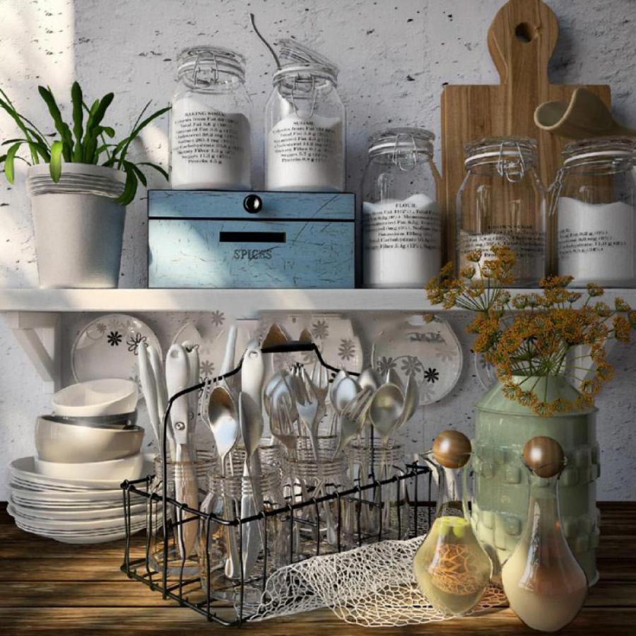 厨房调料瓶餐盘模型