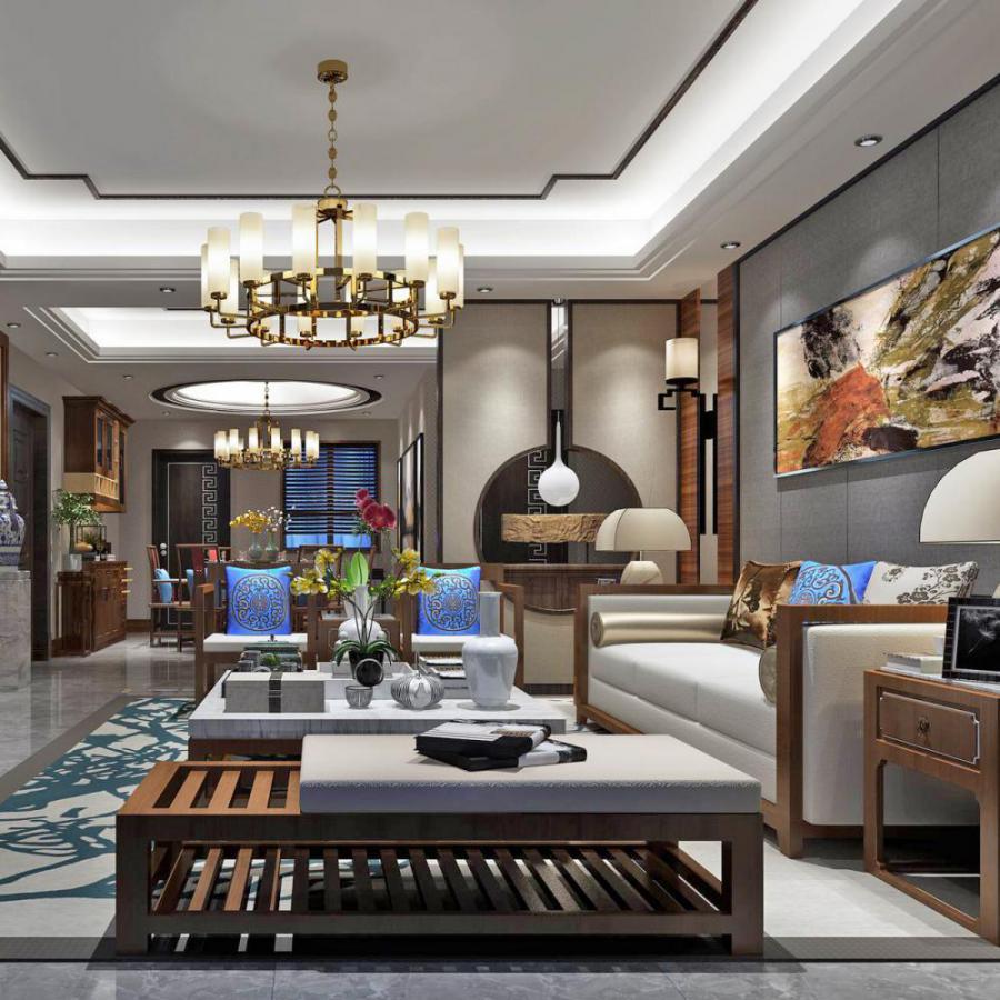 新中式风格整体家装客厅空间模型