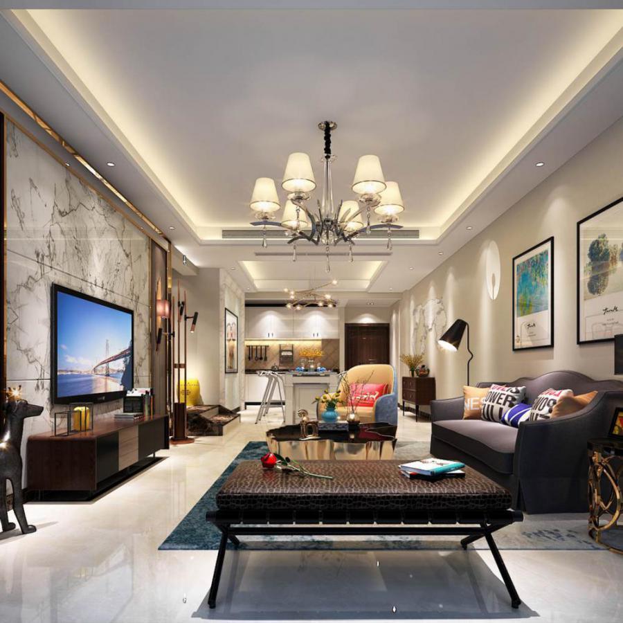 轻奢风格整体家装客厅空间模型