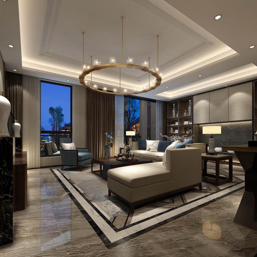 中式风格整体家装客厅空间模型