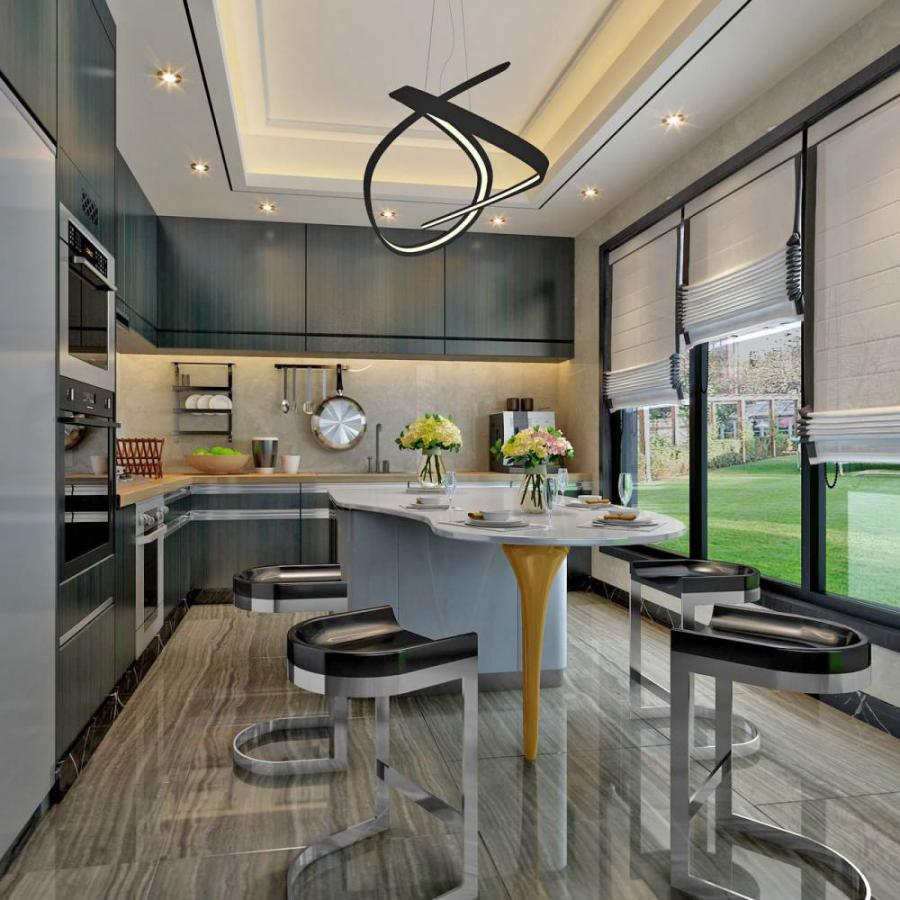 现代风格整体家装厨房空间模型