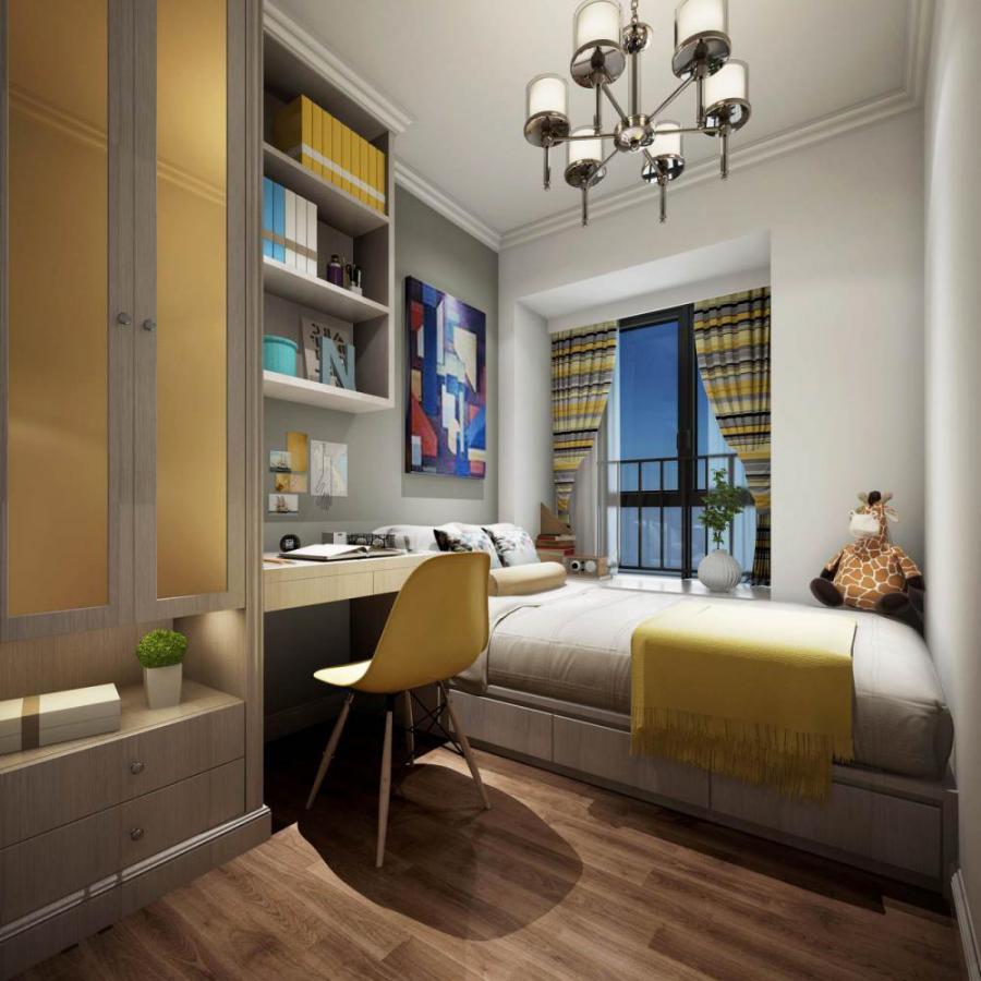 现代风格整体家装卧室空间榻榻米模型