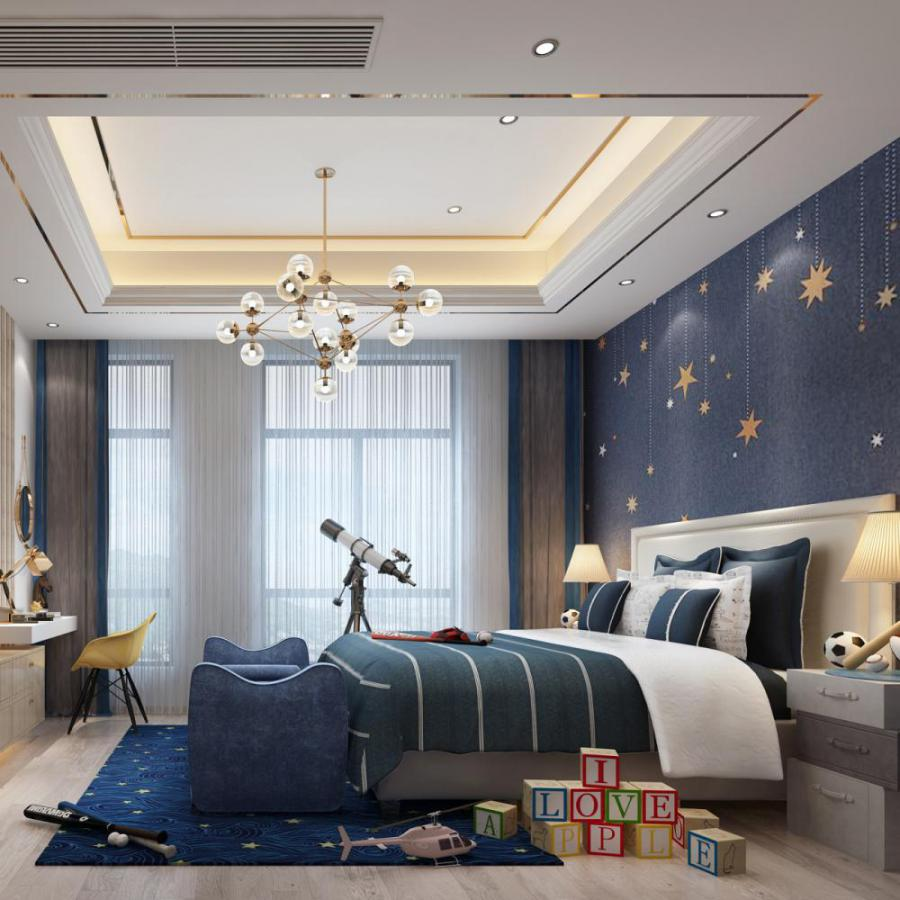 轻奢风格整体家装卧室空间儿童房模型
