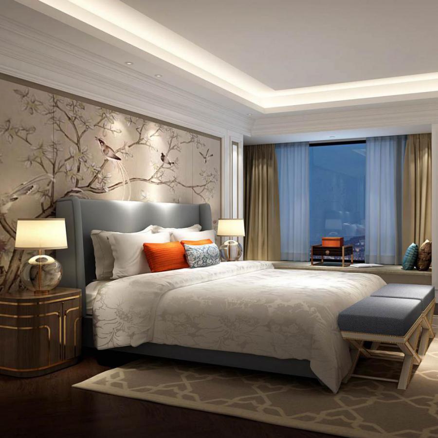 新中式风格整体家装卧室空间主卧室模型