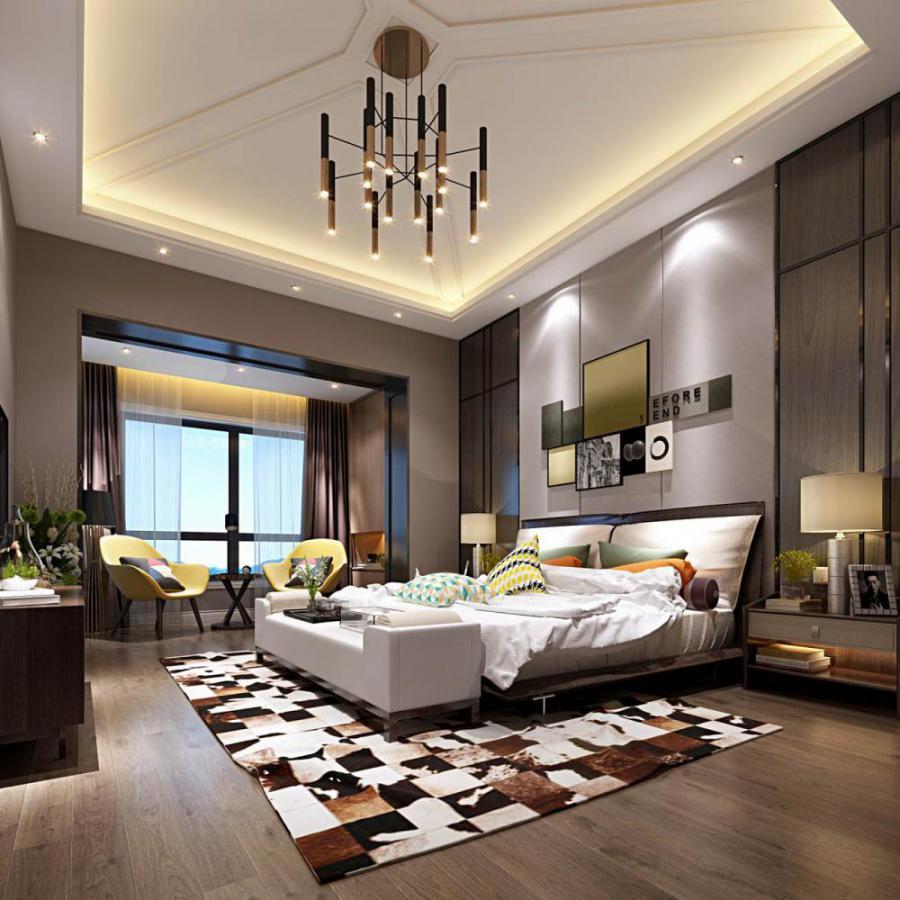 轻奢风格整体家装卧室空间主卧室模型