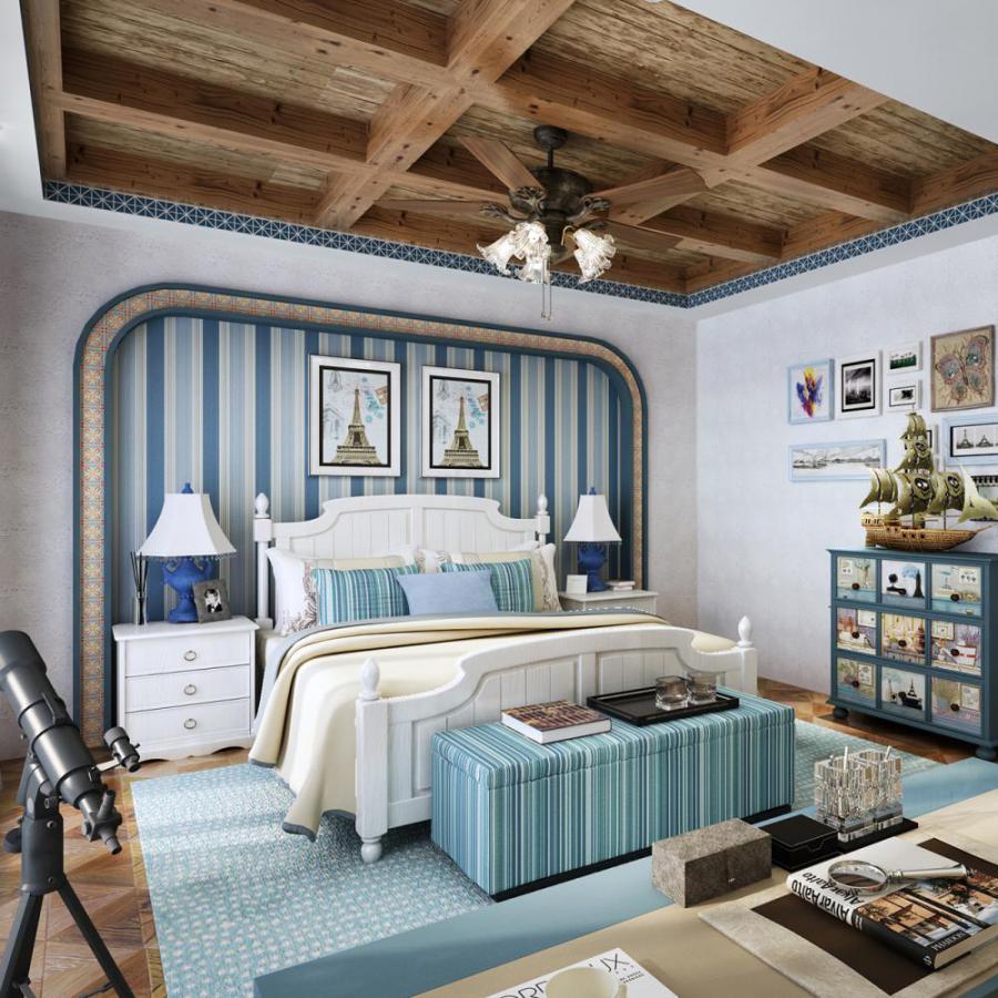 美式风格整体家装卧室空间儿童房模型