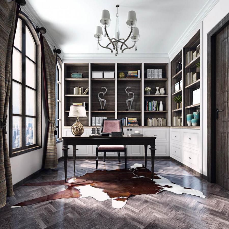 欧式风格整体家装书房空间模型