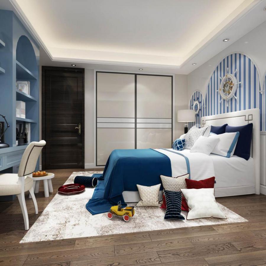 地中海风格整体家装卧室空间儿童房模型