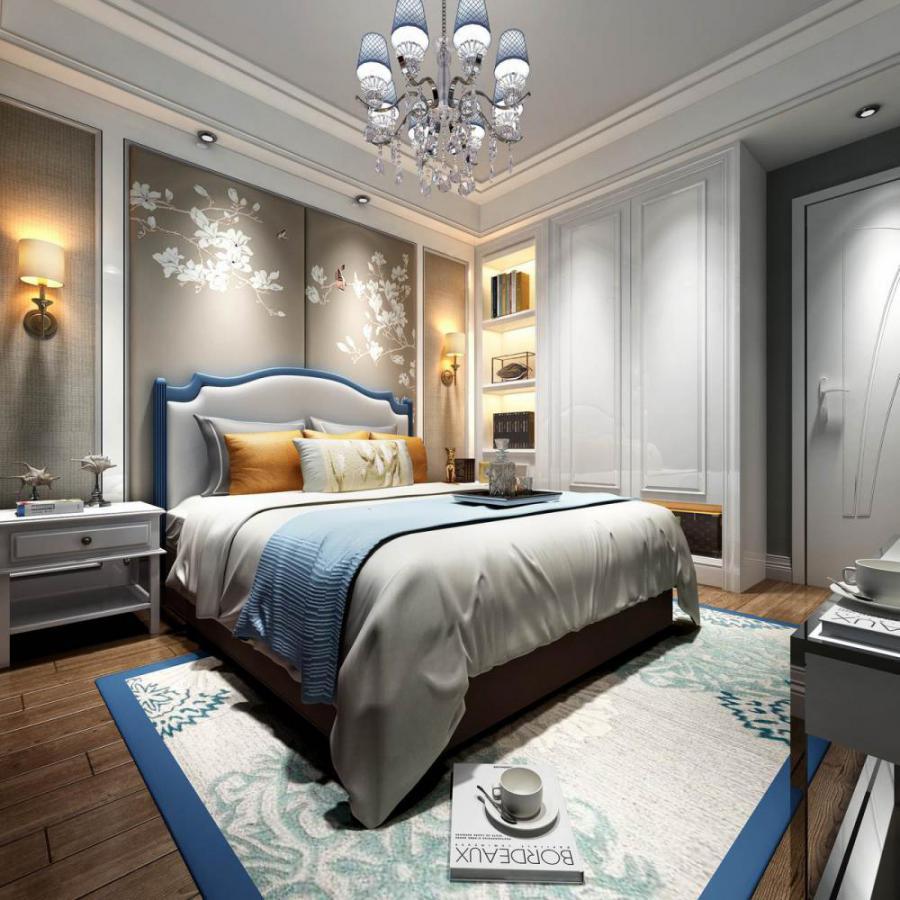 新中式整体家装主卧室模型