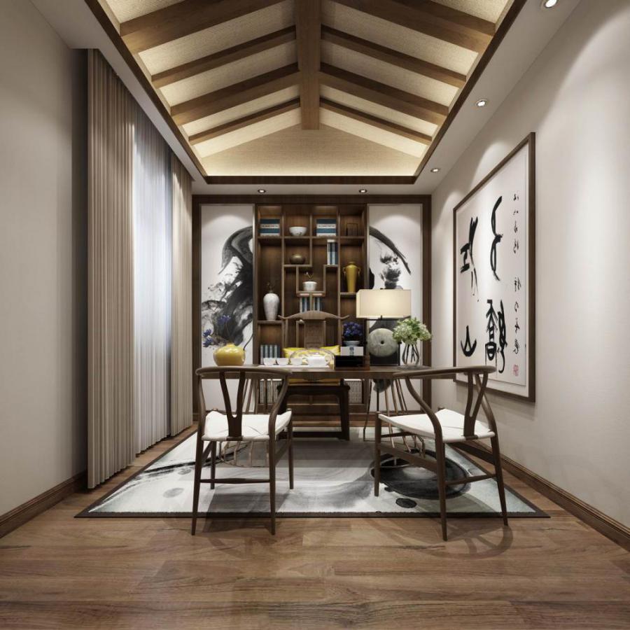 中式风格整体家装书房空间模型