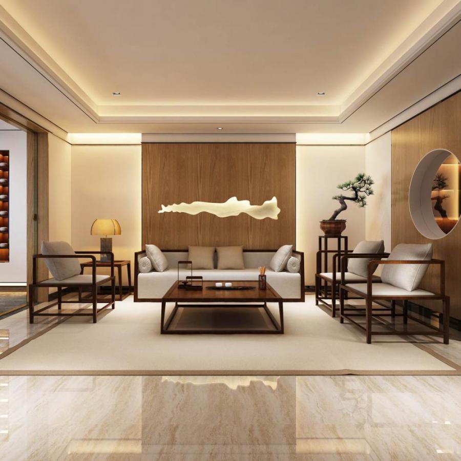 新中式休闲茶室模型
