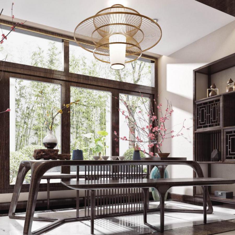 新中式家装休闲茶室模型