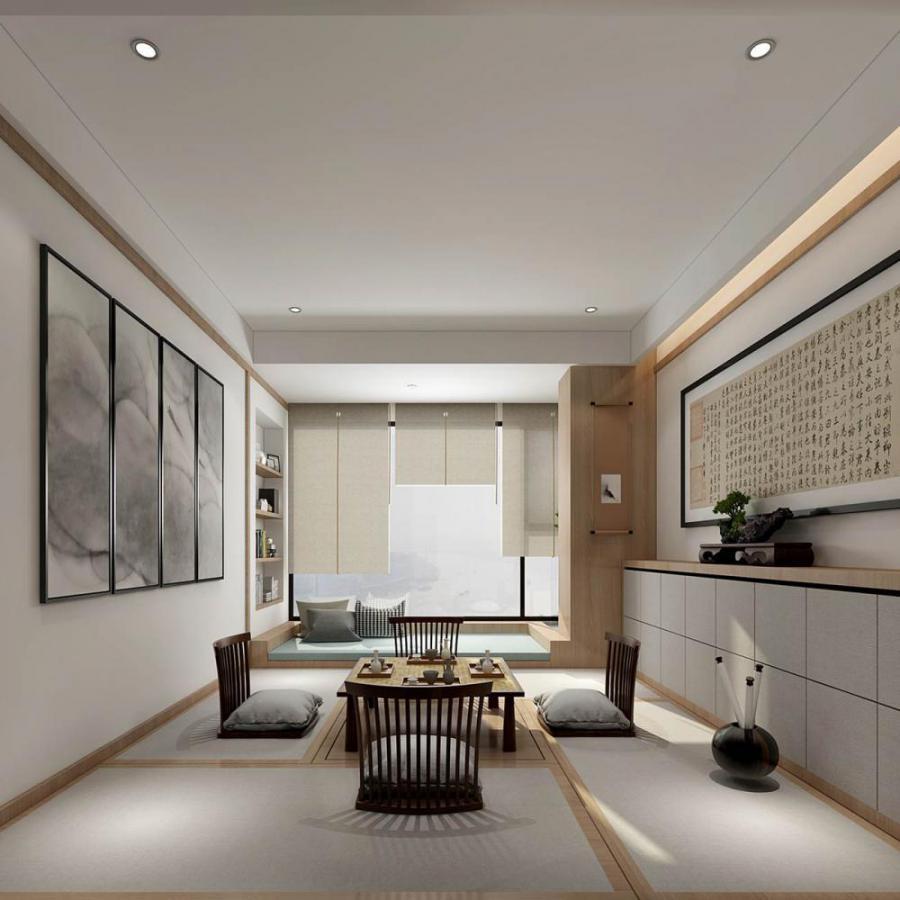 新中式风格整体家装榻榻米茶室模型