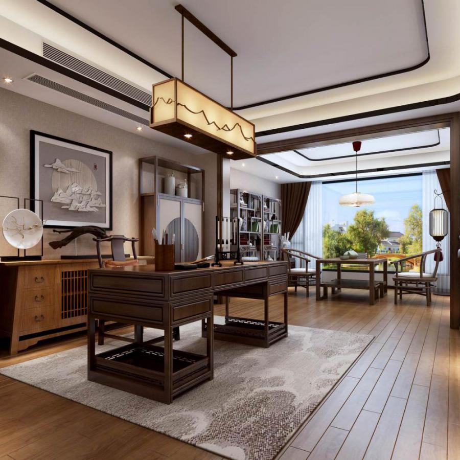 新中式风格整体家装书房空间模型