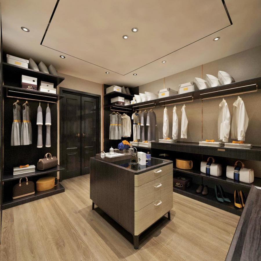 新中式风格整体家装衣帽间模型