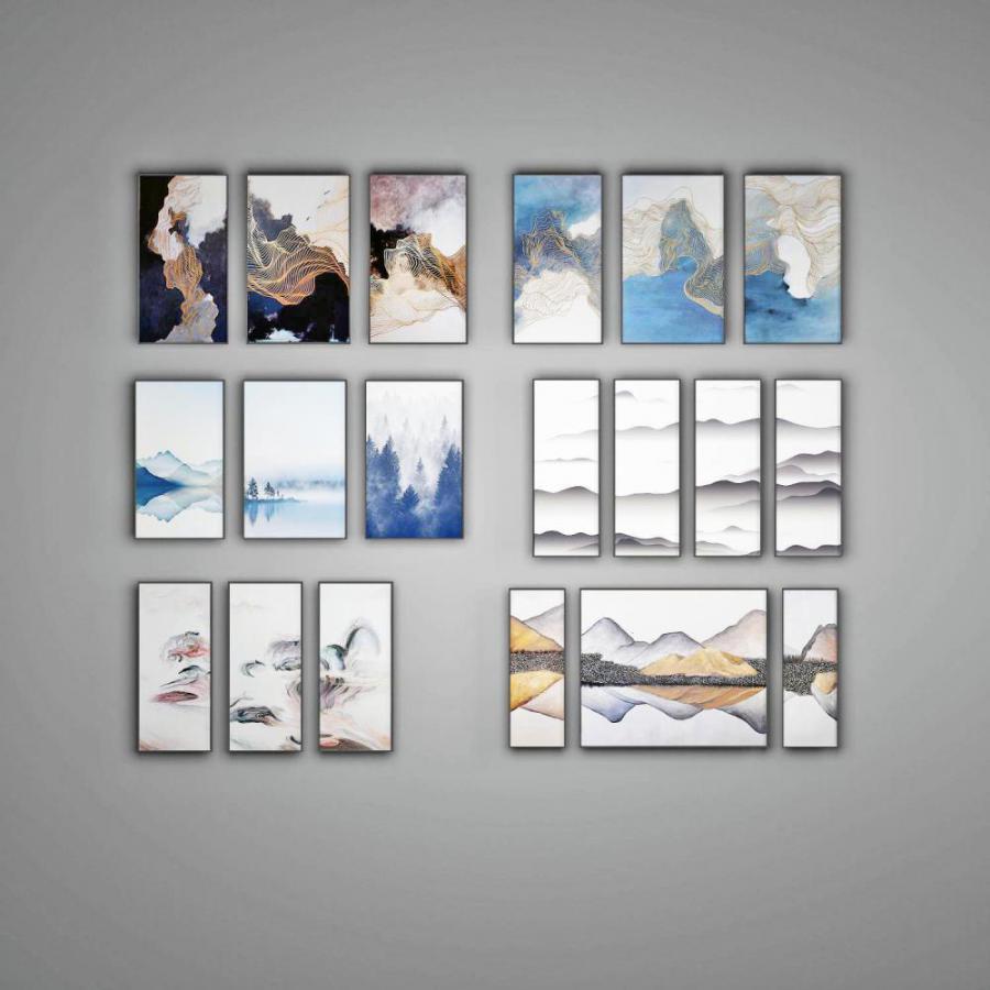 新中式写意立体装饰画组合模型