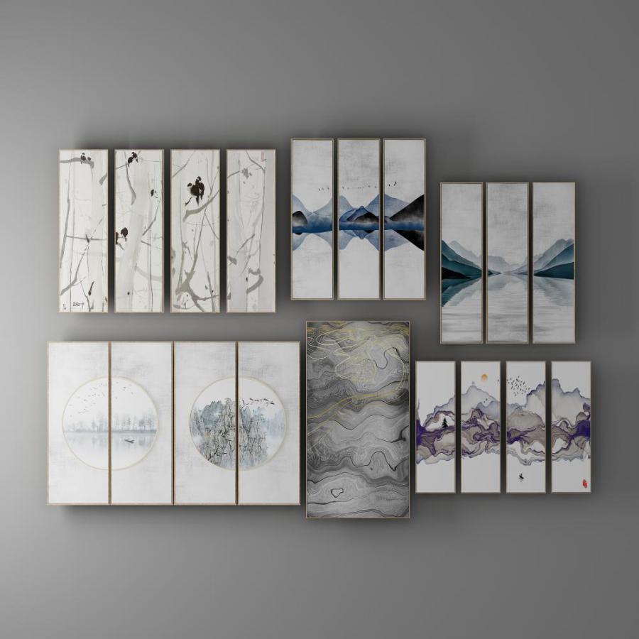 新中式水墨山水装饰画模型