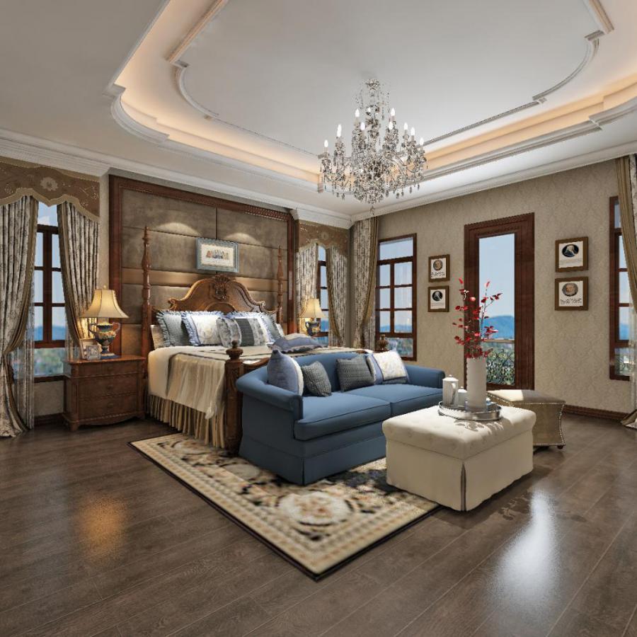 美式风格主卧室模型