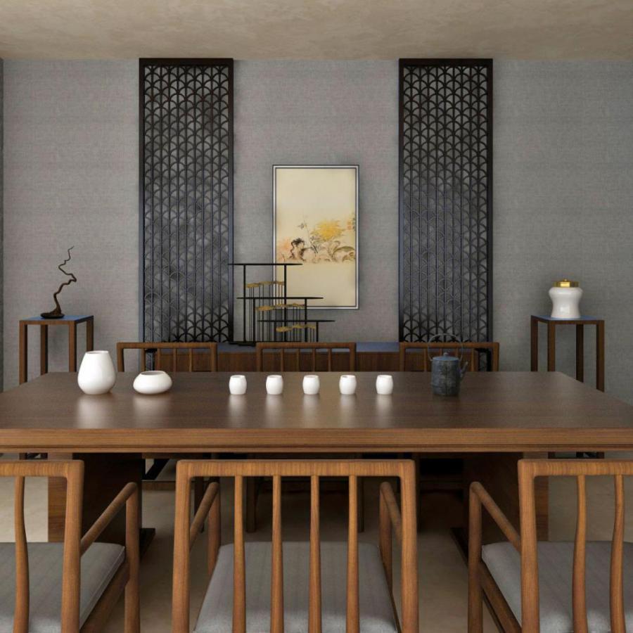 新中式餐桌椅餐边柜组合模型
