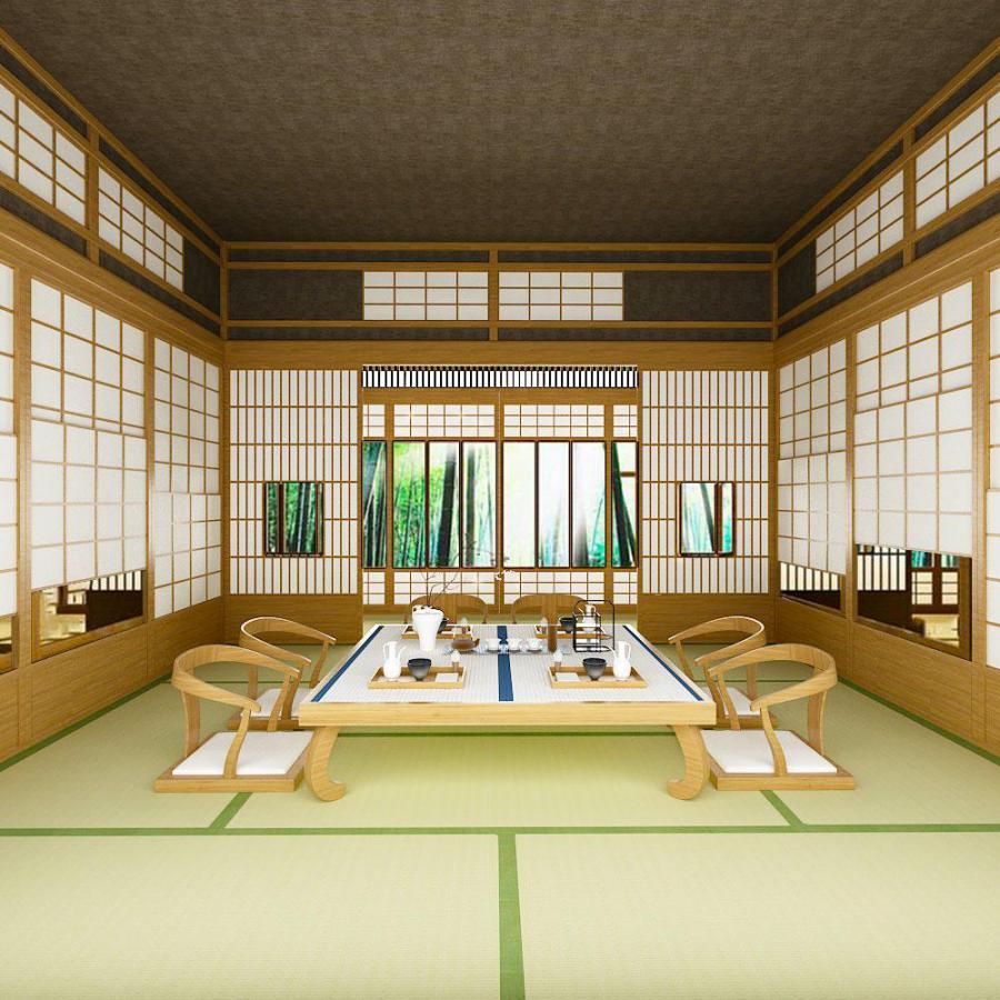 日式榻榻米室茶桌椅茶具组合模型