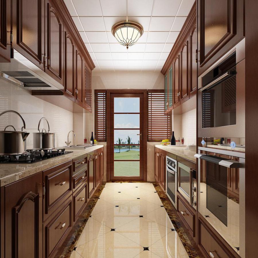 美式厨房橱柜餐具模型