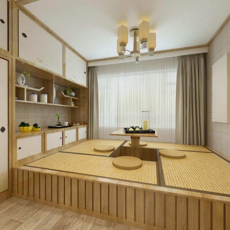 日式榻榻米茶室休息室模型