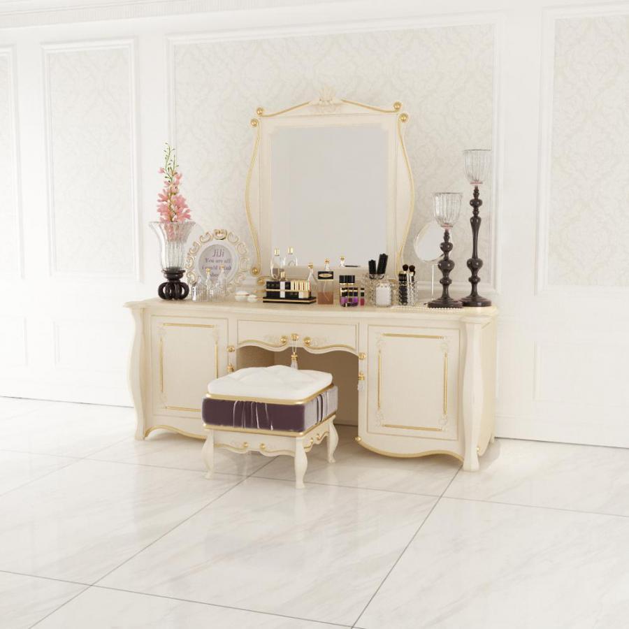 欧式梳妆台化妆品花瓶凳子组合模型