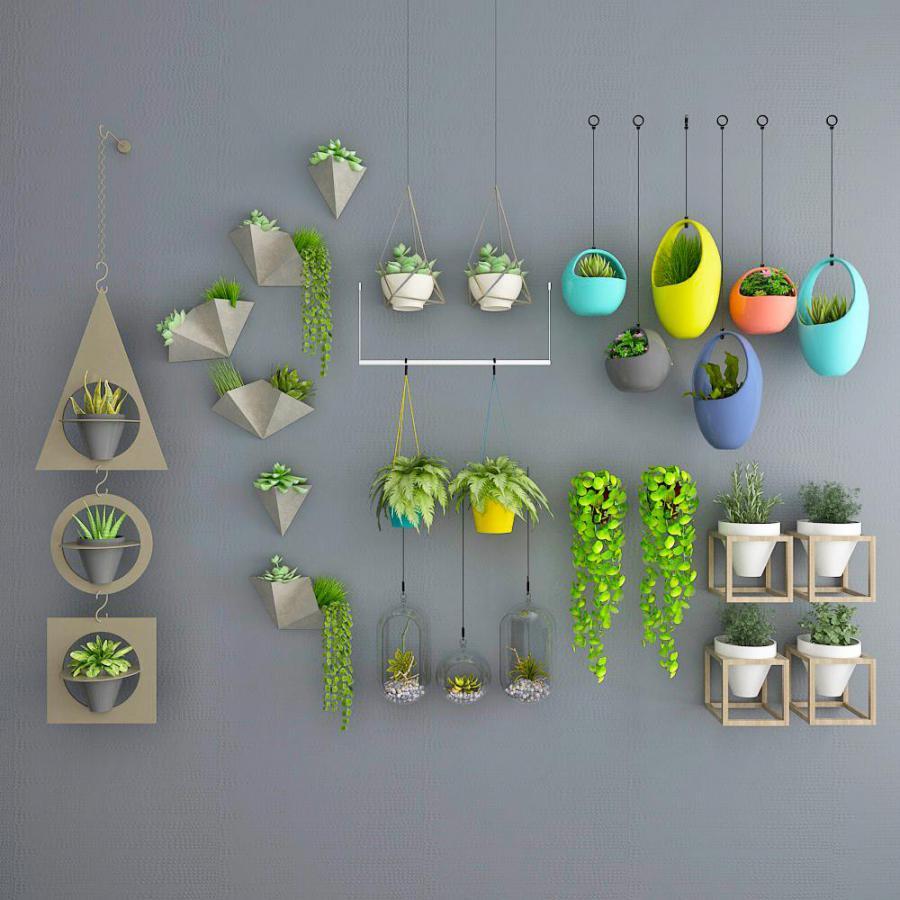 植物壁饰吊篮组合模型