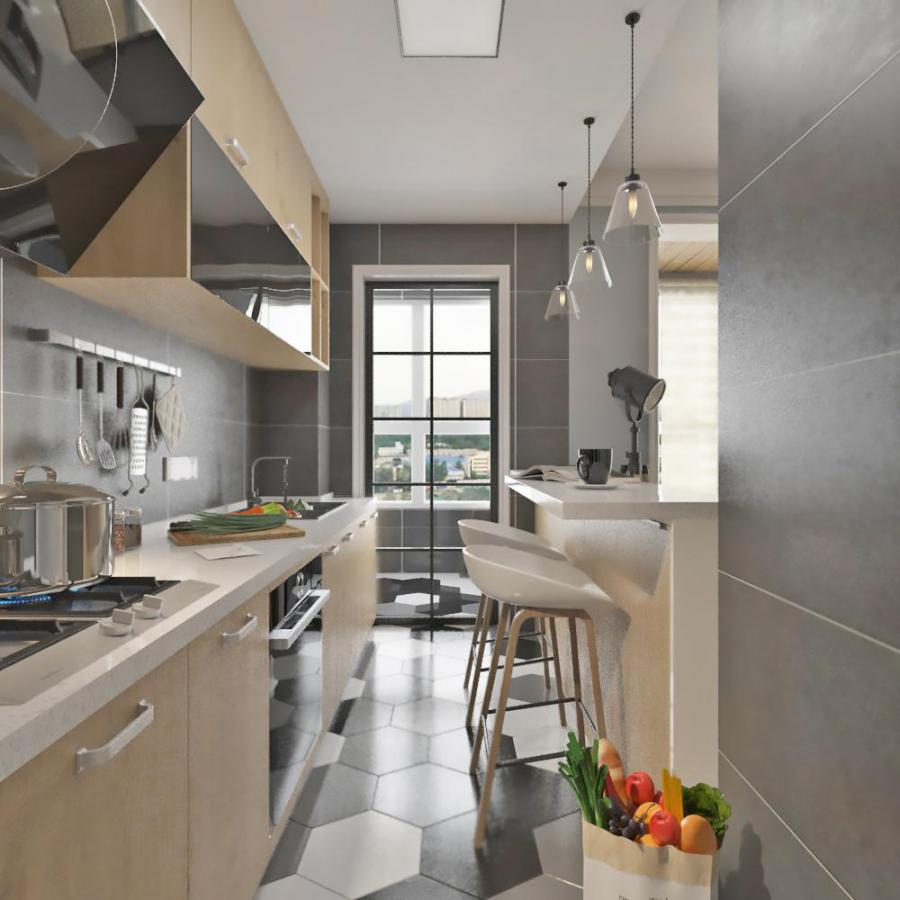 北欧整体家装厨房空间模型