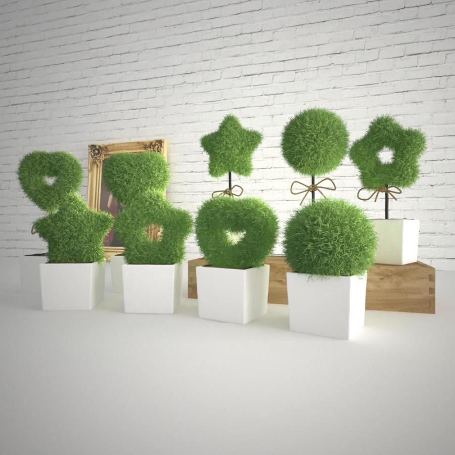 办公可爱植物组合模型