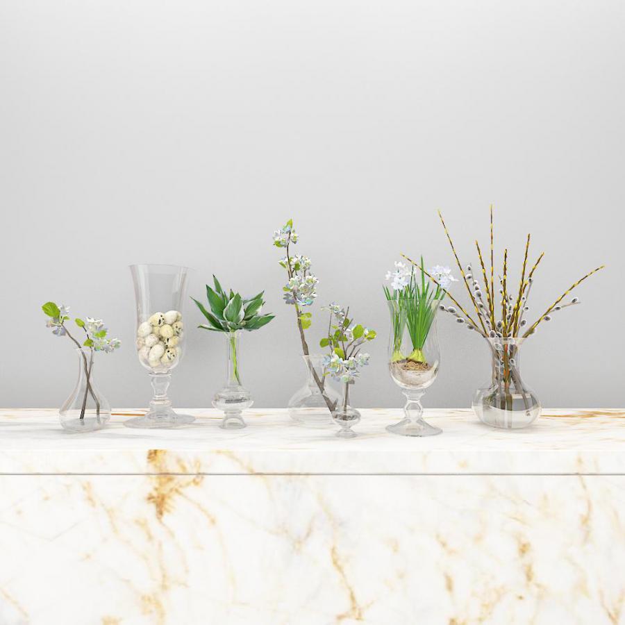 玻璃瓶绿植模型