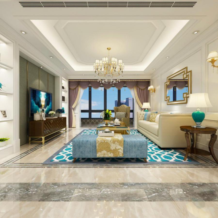 美式整体家装客厅餐厅模型