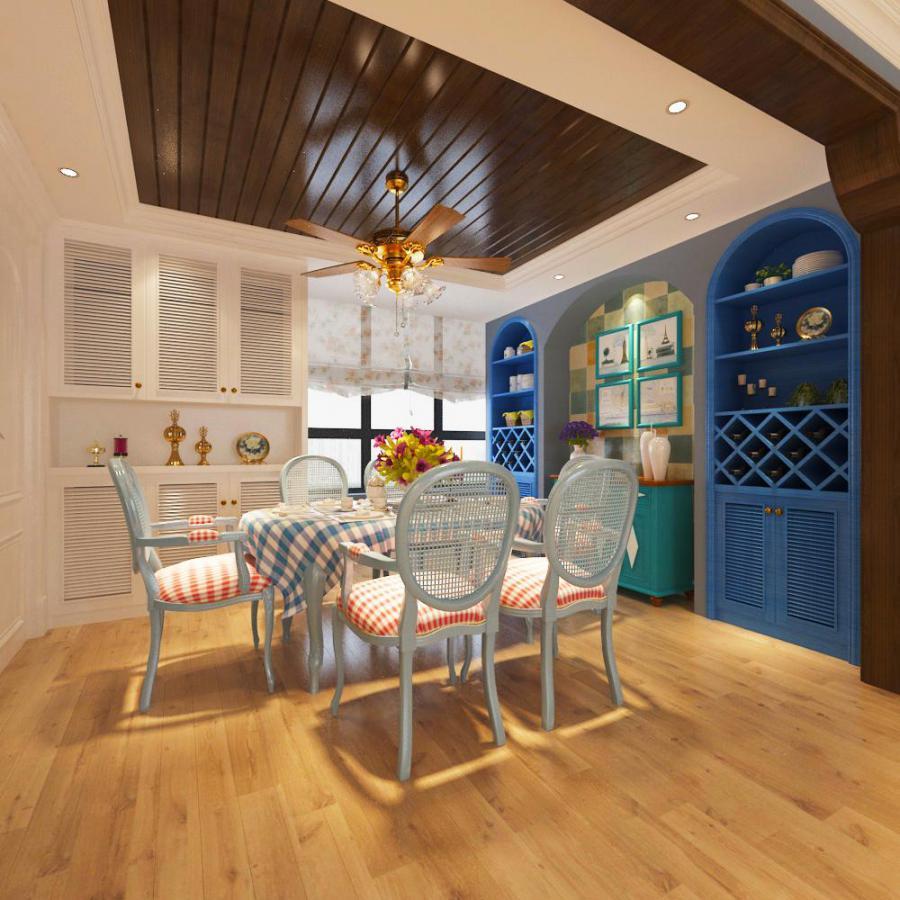 地中海整体家装餐厅空间模型