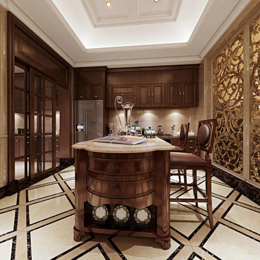 美式整体家装餐厅空间模型