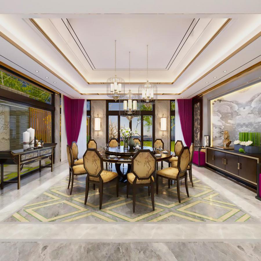 新中式家装餐厅空间模型