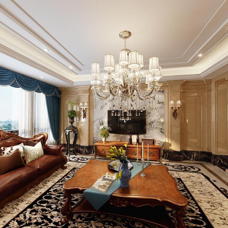 欧式整体家装客厅餐厅模型