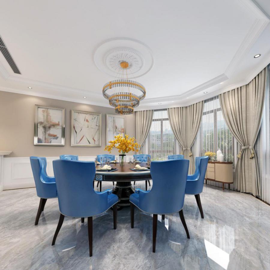 欧式整体家装餐厅空间模型