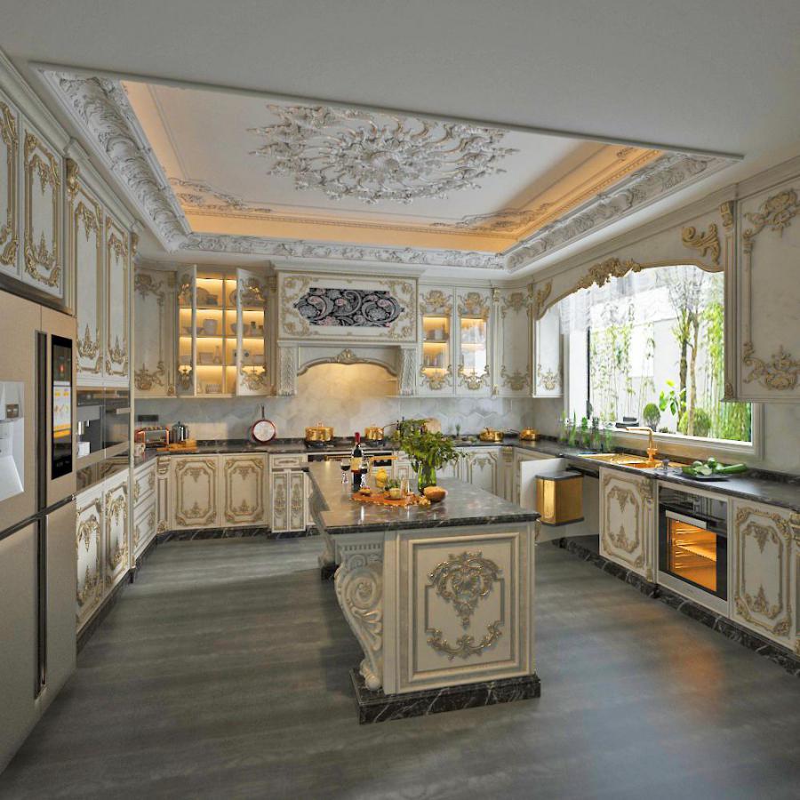 欧式整体家装厨房空间模型