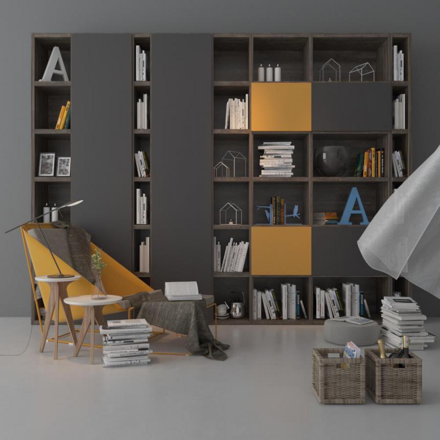 书架单人沙发及装饰品组合模型