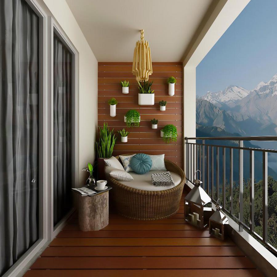 阳台植物墙和沙发组合模型