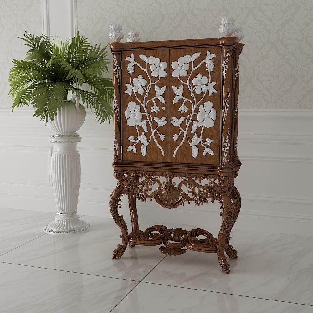 欧式描金雕花装饰柜模型