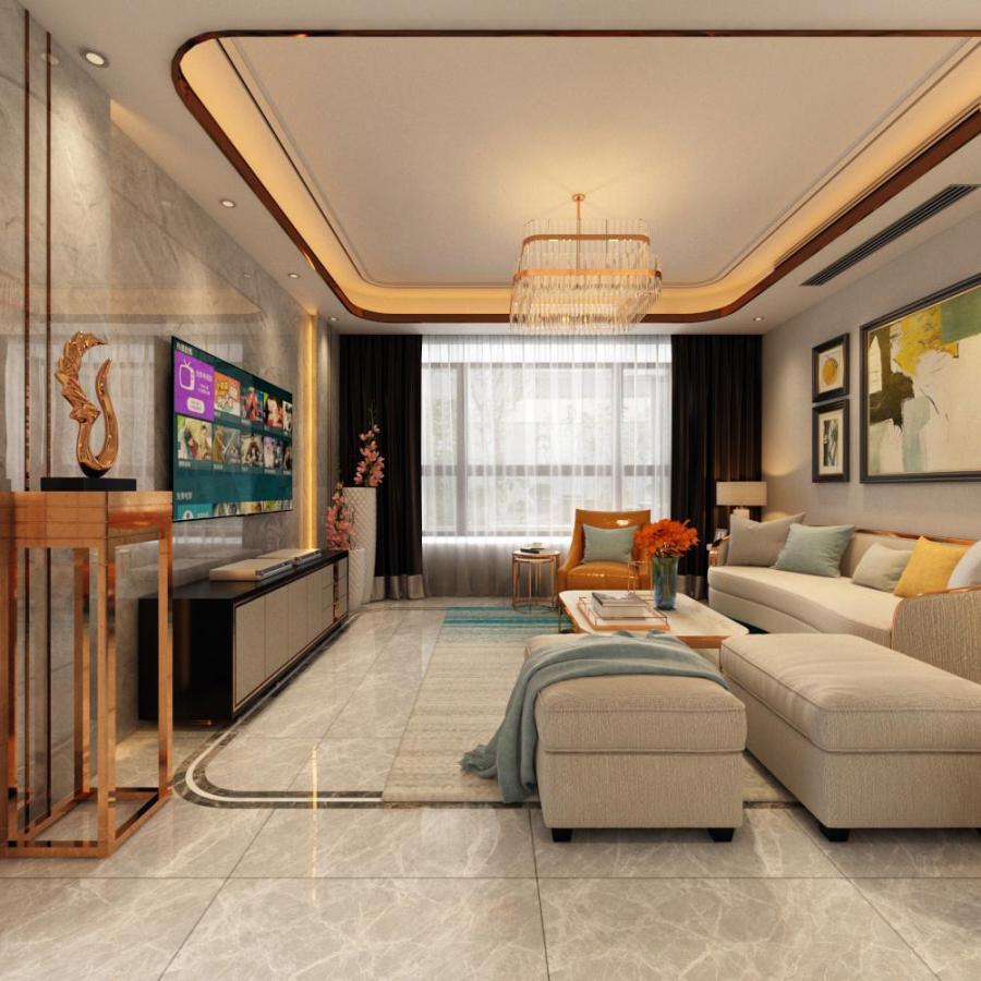 现代整体家装客厅餐厅模型