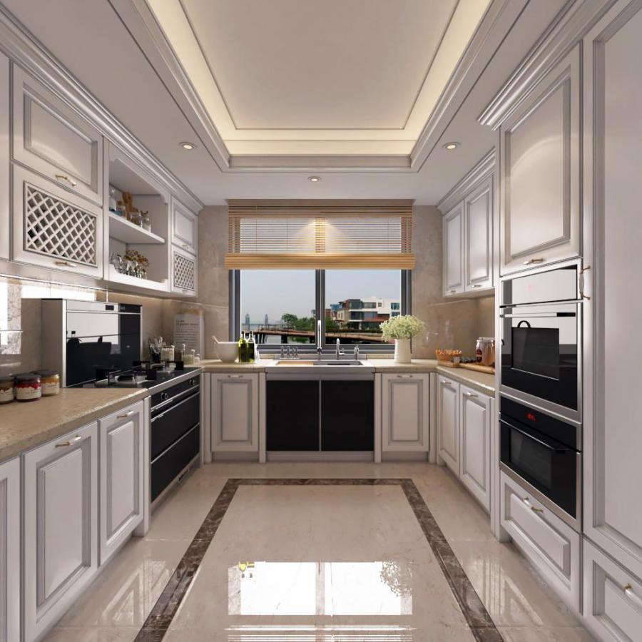 美式实木厨房橱柜模型